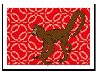 """chinese zodiac sign postcard """"Monkey"""""""