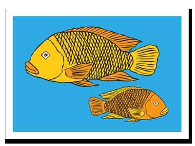 """zodiac sign postcard """"Pisces"""""""