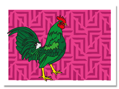 """chinese zodiac sign postcard """"Rooster"""""""