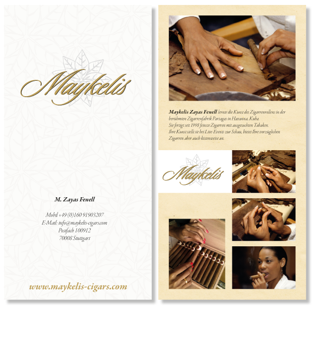 two sided flyer for Maykelis cigars