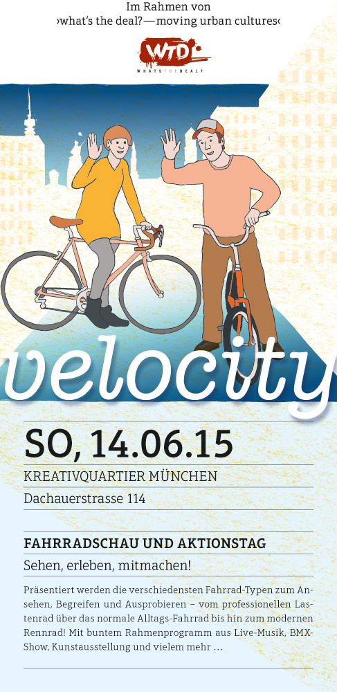 "Flyer for ""velocity"" cycling event, illustration of a female and a male cyclist waving in direction of the viewer"