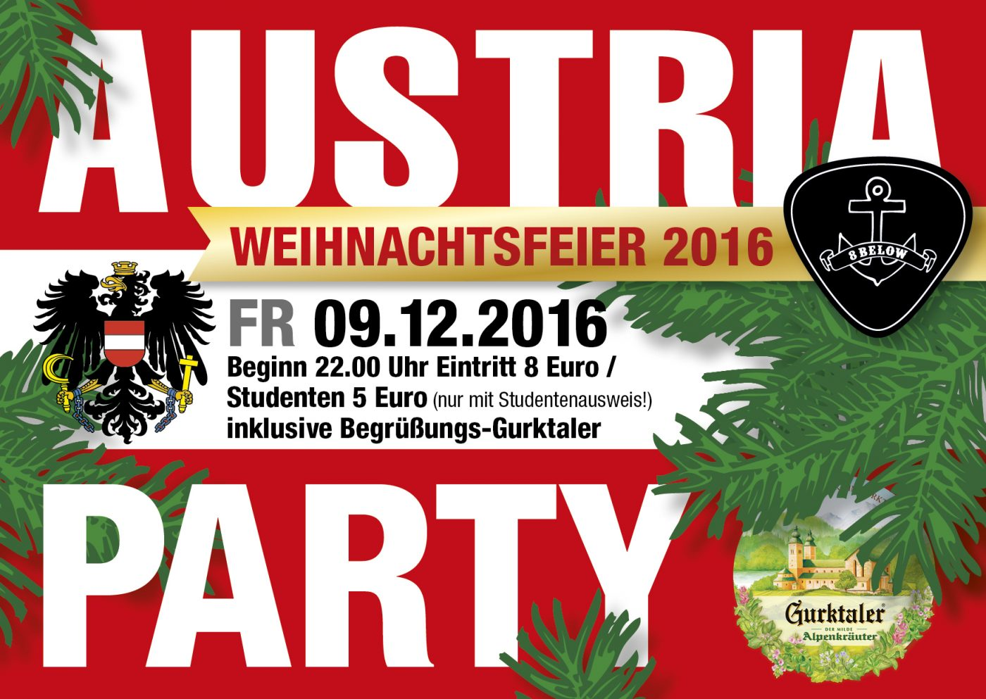 Austria Party christmas special at 8below 2016 front