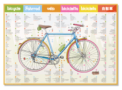 illustrated bicycle dictionary poster